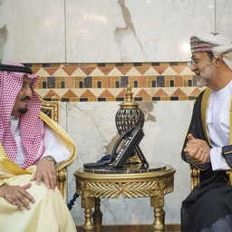 Saudi Arabia's King Salman meets with Oman's current Sultan Haitham in Riyadh on Nov. 13, 2016. (Photo via Getty Images)