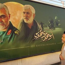 وزير الاستخبارات الإيراني يزور مكان اغتيال قائد فيلق القدس السابق قاسم سليماني في بغداد. 14 يوليو/ تموز 2021 (الصورة عبر مواقع التواصل الاجتماعي)