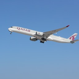 A Qatar Airways airplane takes off from Hamad International Airport near Doha on Jan. 11, 2021. (Photo via Getty Images)