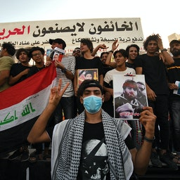 Iraqi protesters demand accountability for the killings and abductions of activists and journalists. Nasiriyah, Iraq. May 25, 2021. (Photo via Getty Images)