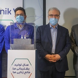 Health Minister Saeed Namaki and Tehran's ambassador to Moscow at the ceremony of unveiling the production of Sputnik V in Iran. June 26, 2021 (Photo by Abbas Shariati via Tasnim News Agency)