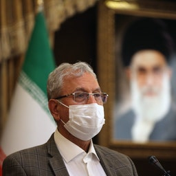 Iranian government spokesman Ali Rabiei answers questions from journalists in Tehran on Oct. 6, 2020. (Photo via Getty Images)