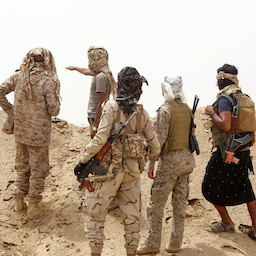 Fighters loyal to Yemen's Saudi-backed government man a position in the Marib governorate, on June 19, 2021. (Photo via Getty Images)