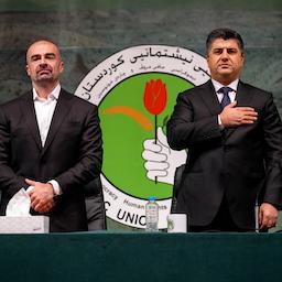لاهور طالبانی (راست) و بافل طالبانی (چپ)، رهبران اتحادیهی میهنی کردستان؛ ۲۵ خرداد ۱۴۰۰/ ۱۵ ژوئن ۲۰۲۱. (عکس از صفحهی فیسبوک لاهور طالبانی)