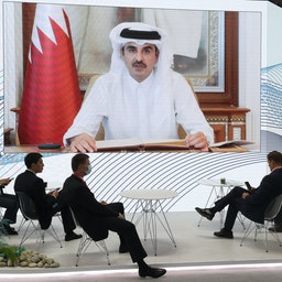A live broadcast of Qatar's Emir Sheikh Tamim bin Hamad Al Thani addressing the International Economic Forum (SPIEF) in St Petersburg, Russia on June 4, 2021. (Photo via Getty Images)