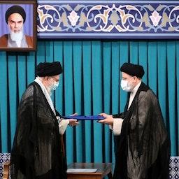 Iran's Supreme Leader Ayatollah Ali Khamenei endorses Ebrahim Raisi as president in Tehran on Aug. 3, 2021. (Photo via Khamenei.ir)