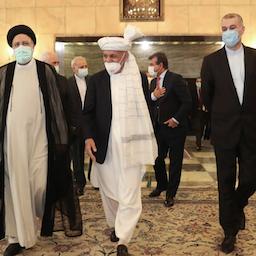Iran's President Ebrahim Raisi (L) and senior Iranian diplomat Hossein Amir-Abdollahian in Tehran on Aug. 5, 2021. (Photo via Twitter/@jamarannews)