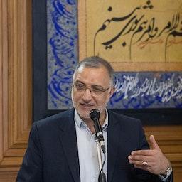 New Tehran Mayor Alireza Zakani addresses the Tehran City Council on Aug. 8, 2021. (Photo by Mohammad Reza Abbasi, via Mehr News Agency)