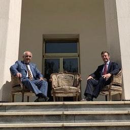 لقاء السفير الروسي ليفان دزغاريان ونظيره البريطاني الجديد سيمون شيركليف في طهران في 11 أغسطس/آب 2021 (الصورة عبر تويتر/ RusEmbIran @)