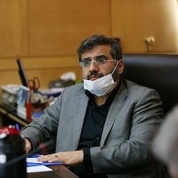 محمد مهدي إسماعيلي وزير الثقافة والإرشاد الإسلامي المقترح في اجتماع بالبرلمان يوم 17 أغسطس/آب 2021 (الصورة من موقع البرلمان الإيراني)