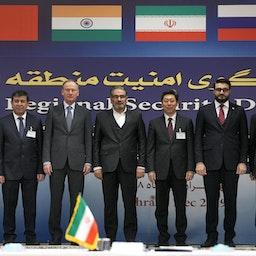 Secretary of Iran's Supreme National Security Council Ali Shamkhani (C) and Secretary of Russia's Security Council Nikolai Patrushev (C-L) in Tehran on Dec. 18, 2019. (Photo via Getty Images)