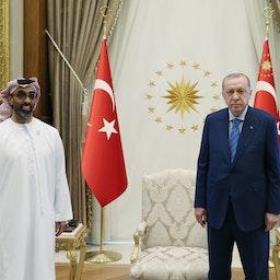 Turkish President Recep Tayyip Erdogan (R) meets the UAE's national security advisor Tahnoon bin Zayed Al Nahyan (L) in Ankara on Aug. 18, 2021. (Photo via Getty Images)