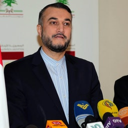Hossein Amir-Abdollahian (L) holds a press conference in Beirut, Lebanon on Jan. 24, 2017. (Photo via Getty Images)