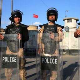 Iraqi riot police protect the Turkish embassy in Baghdad, after calls on social media to protest Turkey's vows to invade Sinjar, on Feb.18, 2021. (Photo via Getty Images)