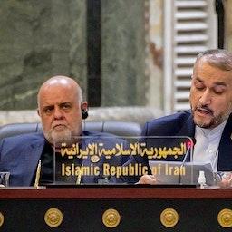 وزير الخارجية الإيراني حسين أمير عبد اللهيان يلقي كلمة في مؤتمر ببغداد. 28 أغسطس/ آب 2021 (الصورة عبر وكالة تسنيم للأنباء)
