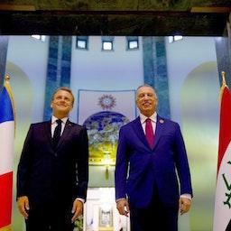 French President Emmanuel Macron meets Iraqi Prime Minister Mustafa Al-Kadhimi in Baghdad, Iraq on Aug. 28, 2021. (Photo via Getty Images)