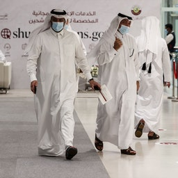 Qatari candidates register to run in the country's elections as members of the Shura Council in Doha, on Aug. 22, 2021. (Photo via Getty Images)