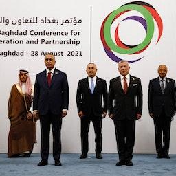 Iraqi Prime Minister Mustafa Al-Kadhimi poses with regional leaders in Baghdad, Iraq on Aug. 28, 2021. (Photo via Getty Images)