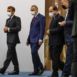 (L to R) French President Emmanuel Macron, Iraqi PM Mustafa Al-Kadhimi, Egypt's President Abdel Fattah Al-Sisi and Iranian FM Hossein Amir-Abdollahian in Baghdad on Aug. 28, 2021. (Photo via Getty Images)