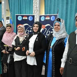 Turkmen attend a ceremony to mark the 26th anniversary of the foundation of the Iraqi Turkmen Front (ITF) in Kirkuk, Iraq on Apr. 25, 2021. (Photo via Getty Images).