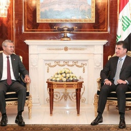 Iraq's Kurdistan Region President Nechirvan Barzani hosts Oğuz Kaan Salıcı, deputy chairman of Turkey's Republican People's Party (CHP) in Erbil, Iraq on Sept. 6, 2021. (Photo via the Presidency of Iraq's Kurdistan Region Archives).