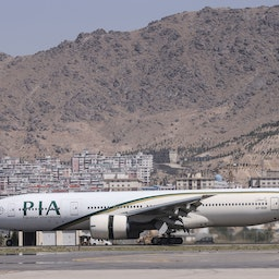 A Pakistan International Airlines plane is the first international commercial flight to land since the Taliban retook power in Afghanistan. Kabul on Sept. 13 2021. (Photo via Getty Images)