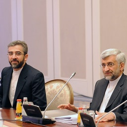 Then Iranian top nuclear negotiators Ali Baqeri-Kani (L) and Saeed Jalili (R) meet representatives from world powers in Almaty, Kazakhstan on Apr. 5, 2013. (Photo via Getty Images)