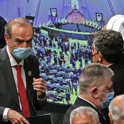 European External Action Service (EEAS) Deputy Secretary General Enrique Mora (L) attends the swearing in ceremony of Iran's President Ebrahim Raisi in Tehran on Aug. 5, 2021. (Photo via Getty Images)