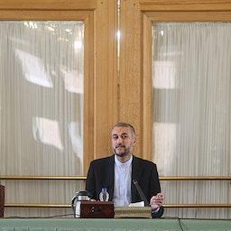 Iranian Foreign Minister Hossein Amir-Abdollahian addresses a meeting in Tehran, Iran on Sept. 19, 2021. (Photo by Hamed Jafarnejad via Tasnim News Agency)