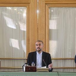 وزير الخارجية الإيراني حسين أمير عبد اللهيان يلقي كلمة في اجتماع في طهران، إيران. 19 سبتمبر/أيلول 2021. (الصورة لحامد جعفر نجاد عبر وكالة تسنيم للأنباء)