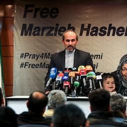 PressTV CEO Peyman Jebelli speaks during a press conference in Iran's capital Tehran on Jan. 16, 2019. (Photo via Getty Images)