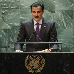 Qatari Emir Sheikh Tamim bin Hamad Al Thani addresses the 76th Session of the UN General Assembly on Sept. 21, 2021 in New York. (Photo via Getty Images)