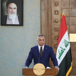 Iraqi Prime Minister Mustafa Al-Kadhimi gives a joint press conference with Iranian President Ebrahim Raisi in Tehran on Sept. 12, 2021. (Photo by Iranian Presidency via Getty Images)