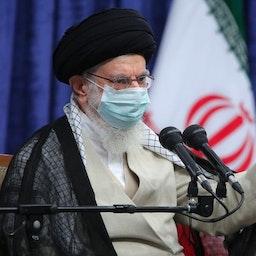 Iran's Supreme Leader Ayatollah Ali Khamenei giving a speech in Tehran on Sept. 21, 2021. (Photo via Iran's Leader's website)