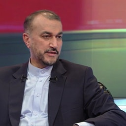 Iran's Foreign Minister Hossein Amir-Abdollahian in an interview broadcast on Iranian state television in Tehran on Oct. 2, 2021. (Screengrab via IRIB News Agency)