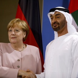 The Crown Prince of Abu Dhabi, Mohammed bin Zayed Al Nahyan, and then German Chancellor Angela Merkel in Berlin, Germany on June 12, 2019. (Photo via Getty Images)