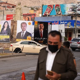 Electoral banners for the Iraqi parliamentary elections of Oct. 10 in the streets of the northern city of Dohuk on Oct.3, 2021. (Photo via Getty Images)