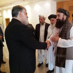 Mohammad Sadeq Motamedian, the governor of Iran's Khorasan Razavi Province, meeting Taliban officials in Afghanistan on Oct. 5, 2021. (Photo via Hamshahri Online)