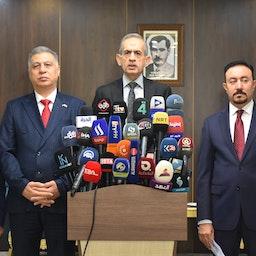 Chairman of the Iraqi Turkmen Front Hasan Turan (2nd R), Iraqi Parliament Kirkuk Deputy, Halid Mafraci (R) and Iraqi Turkmen Front deputy Arshad al-Salihi (2nd L) attend a press conference in Kirkuk, Iraq on Sept. 15, 2021. (Photo via Getty Images)