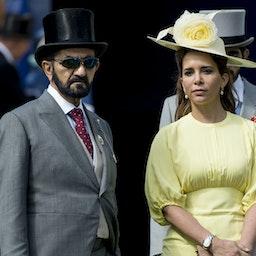 Dubai's Emir Sheikh Mohammed bin Rashid Al Maktoum and his ex-wife Princess Haya bint Al Hussein on June 3, 2017 in Epsom, England. (Photo via Getty Images)