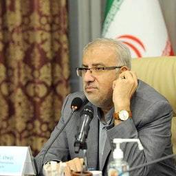Iran's Petroleum Minister Javad Owji attending the 20th OPEC+ meeting via  video conference on Sept. 1, 2021. (Photo via Shana Petro Energy Information Network)