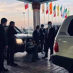 Former Iranian president Mahmoud Amadinejad arrives at Tehran's Imam Khomeini International Airport to travel to Dubai. Oct. 13, 2021. (Handout photo)