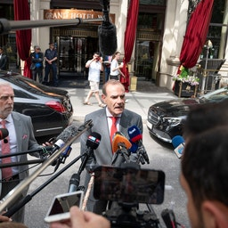 Deputy Secretary General of the European External Action Service (EEAS), Enrique Mora, speaks to journalists in Vienna on June 20, 2021. (Photo via Getty Images)