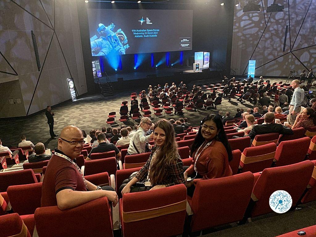 Dandelions team in the forum hall of Australian Space Forum