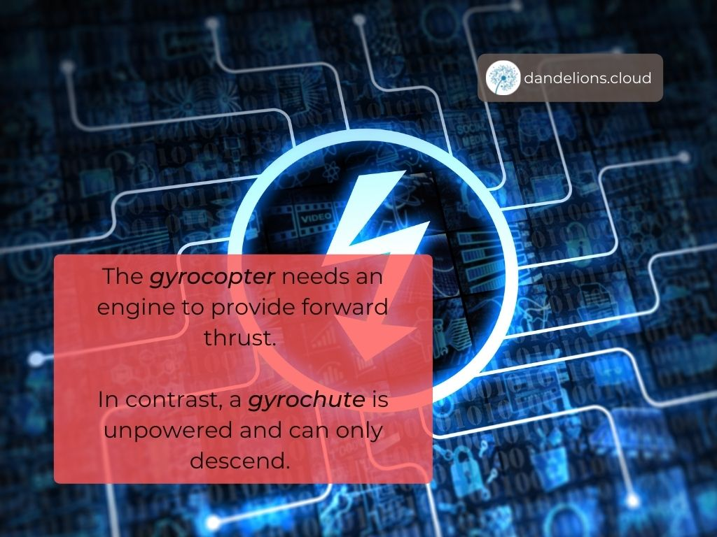 A Gyrochute is unpowered and can only descend!