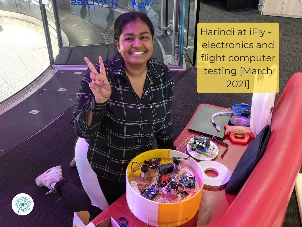 Harindi at iFly, working on the electronics and final checks on the flight computer, March 2021