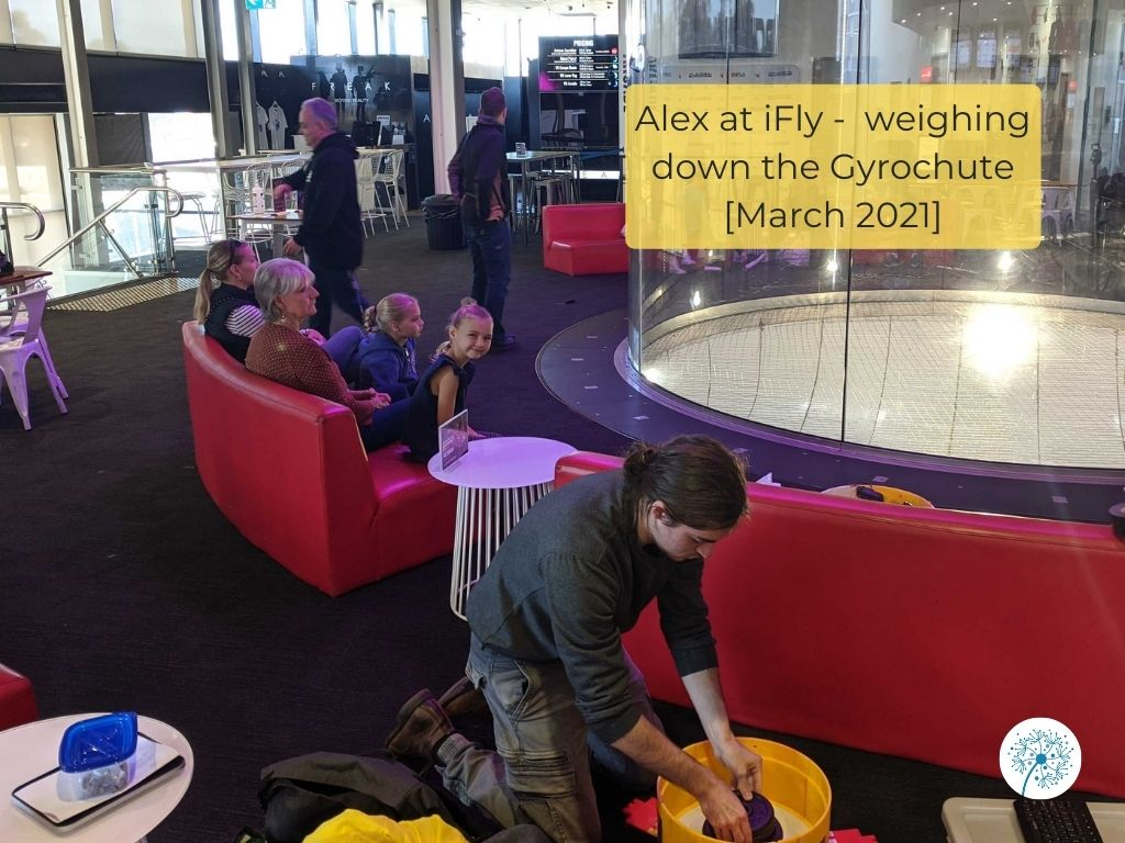 Alex at iFly, weighing down the Gyrochute, March 2021.