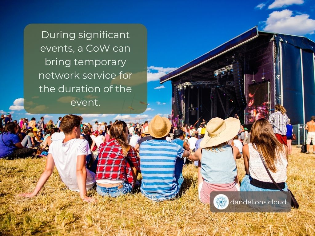 During significant events, a CoW can bring temporary network service for the duration of the event.