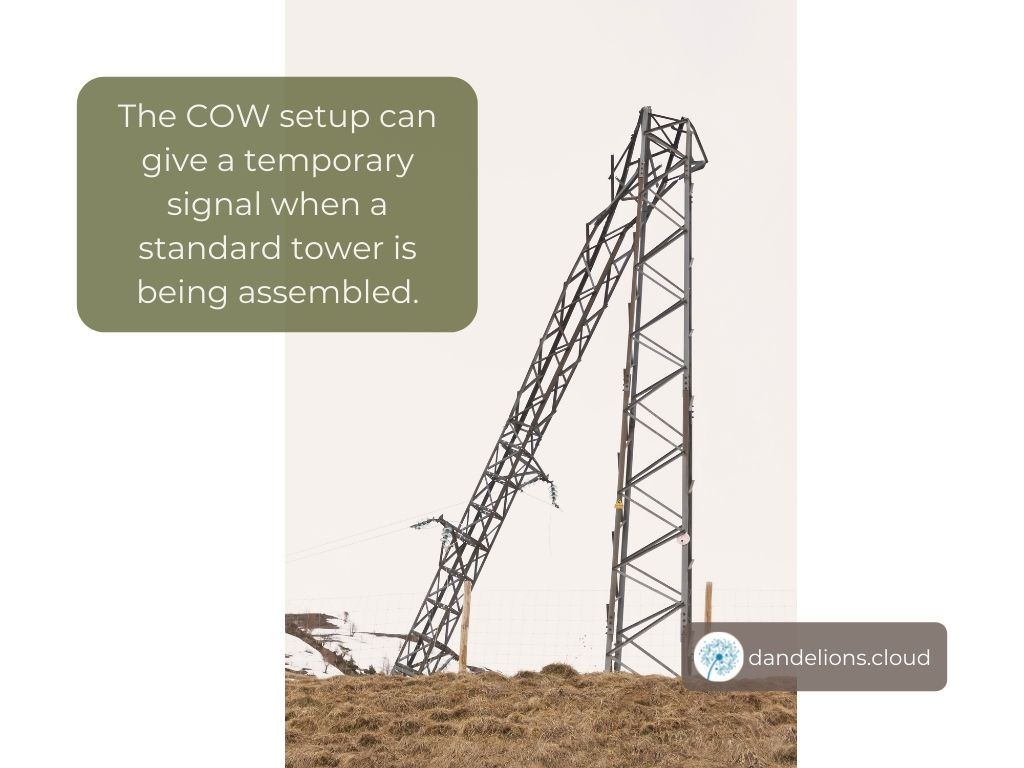 The COW setup can give a temporary signal when a standard tower is being assembled.