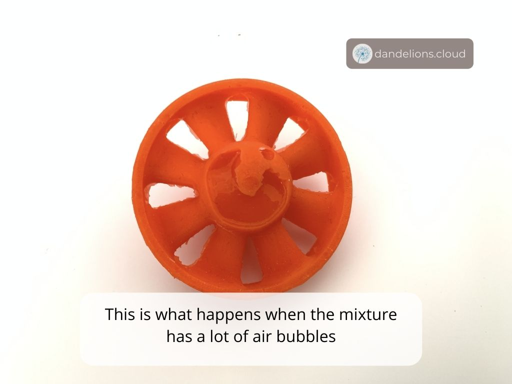 When the mixture is not put in a vacuum chamber, it has a lot of air bubbles